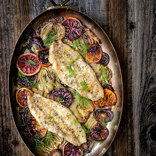 Baked Rockfish With Fennel And Blood Oranges.