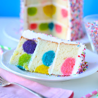 Rainbow Sprinkles Polka Dot Surprise Cake.