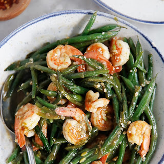 Shrimp and Green Beans in Chinese Garlic Sauce.