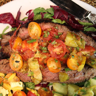 Cabernet & Roasted Garlic Grilled Flank Steak with Grilled Tomato Salsa & Arugula-Radicchio Salad