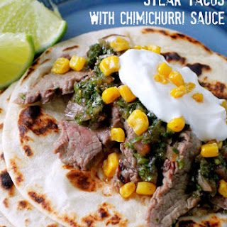 Pineapple Marinated Steak Tacos with Chimichurri Sauce.