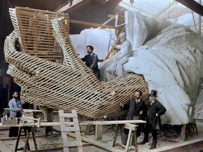 Albert Fernique, Construction of the skeleton and plaster surface of the left arm and hand of the Statue of Liberty [¢olours byhistorical digital colourist Marina Amaral]