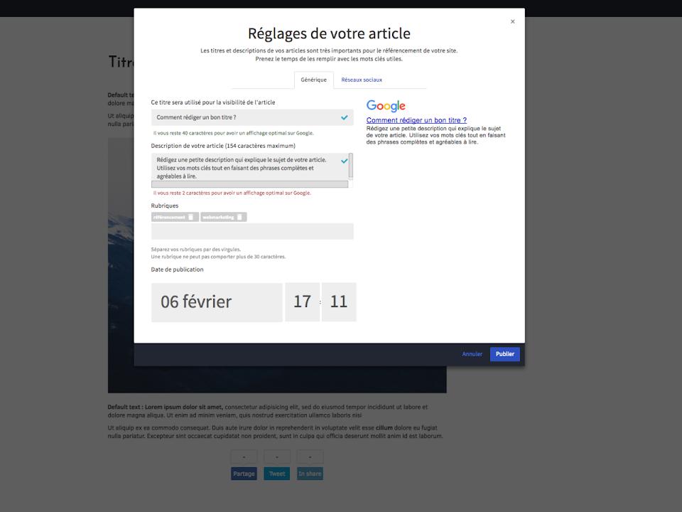 paramétrer mon article de blog