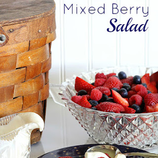 Summer Mixed Berry Salad With Sour Cream Honey Dressing.