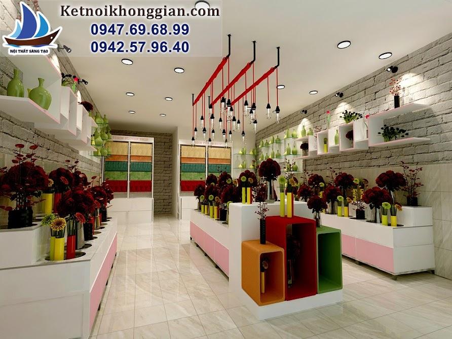 thiết kế cửa hàng hoa sáng tạo thanh lich