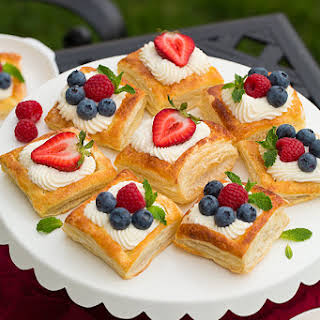 Puff Pastry Fruit Tarts with Ricotta Cream Filling.