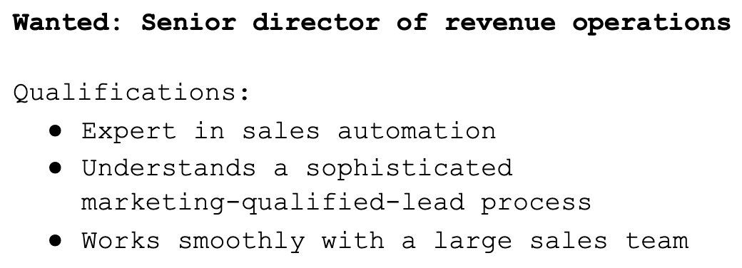 Sample of a job ad for a senior director of revenue operations.