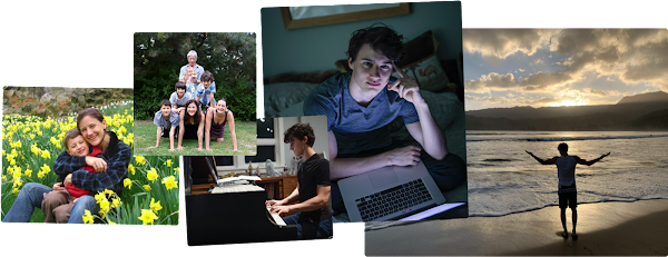 Visual collage featuring José growing up. From left to right:  Josés mom holding him as a baby in a field of flowers, Jose with his siblings at home, José playing piano, José working on his laptop in bed, Jose in graduation cap and gown.