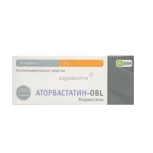 Аторвастатин-Obl таб. п/о плен. 10мг 30 шт.