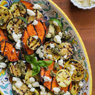 Grilled Sweet Potatoes, Zucchini, and Yellow Squash with Pesto and Feta