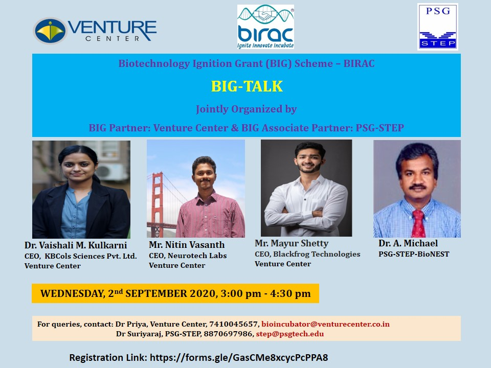 Biotechnology Ignition Grant (BIG) Scheme – BIRAC BIG-TALK