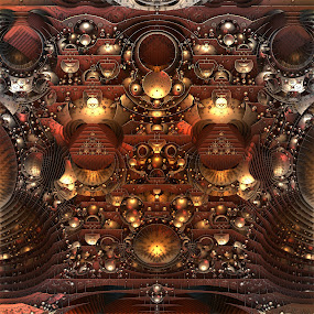 Alien Secrets by Lyle Hatch - Illustration Sci Fi & Fantasy ( abstract, technology, metal, mandelbulb 3d, sci-fi, alien, symmetry, metallic, ufo, fractal, control panel, three dimensional )