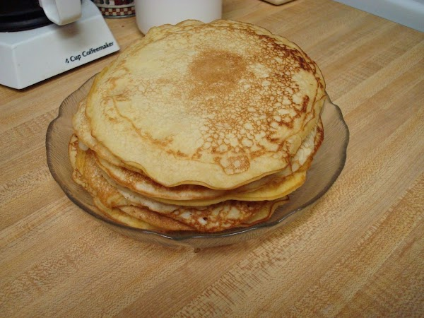 Make your favorite pancake recipe. Keep warm while you get your eggs ready. (Or...