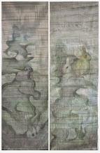"""Photo: Joanna Dobranowska """" W zielonym lesie..."""" tkanina nicielnicowa, malowanie na osnowie (zasłony)"""