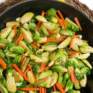 Sauteed Brussels Sprouts and Carrots.