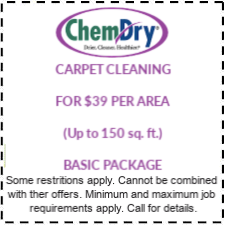 39 PER AREA carpet cleaning