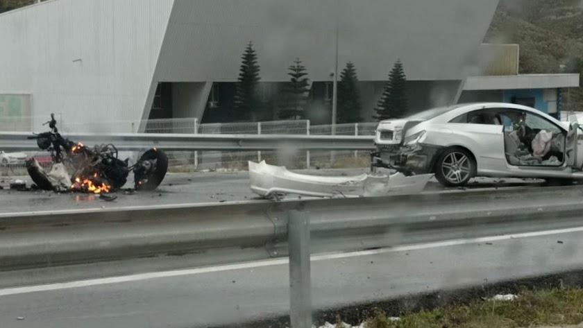 Imagen del accidente ocurrido hoy en Berja.