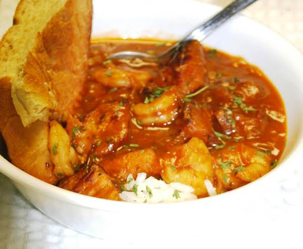 Seafood Stew With Alligator & Shrimp Over Rice