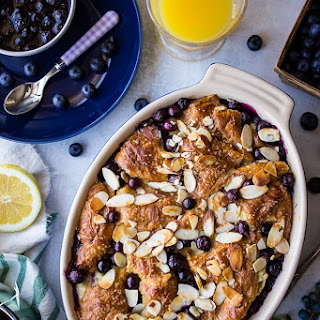 Blueberry Croissant Bread Pudding with Blueberry Sauce.