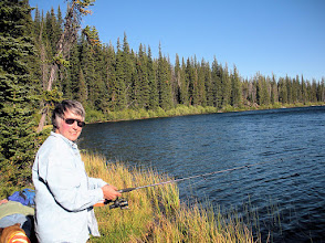 Photo: Jane fishing on Lake Julius (Photo by Celia)