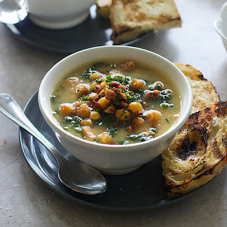 Chickpea Soup With Kale and Bacon.
