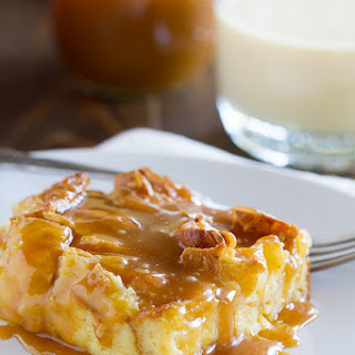 Eggnog Croissant Bread Pudding with Caramel Eggnog Syrup