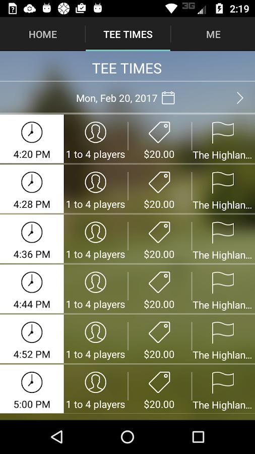 The Highlands Golf Tee Times- screenshot