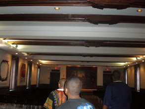 Photo: the beams in this room were given to Fisk from a castle in Austria that was built in the 1300s. Next picture shows a plaque with more information.
