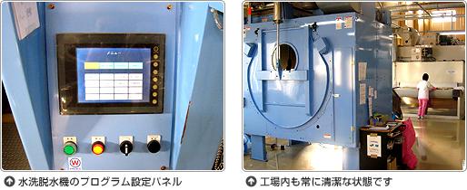 水洗脱水機のプログラム設定パネル。工場内も常に清潔な状態です。