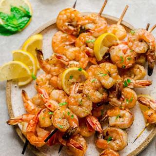 Grilled Shrimp Skewers with Lemon Herb Butter Sauce Recipe