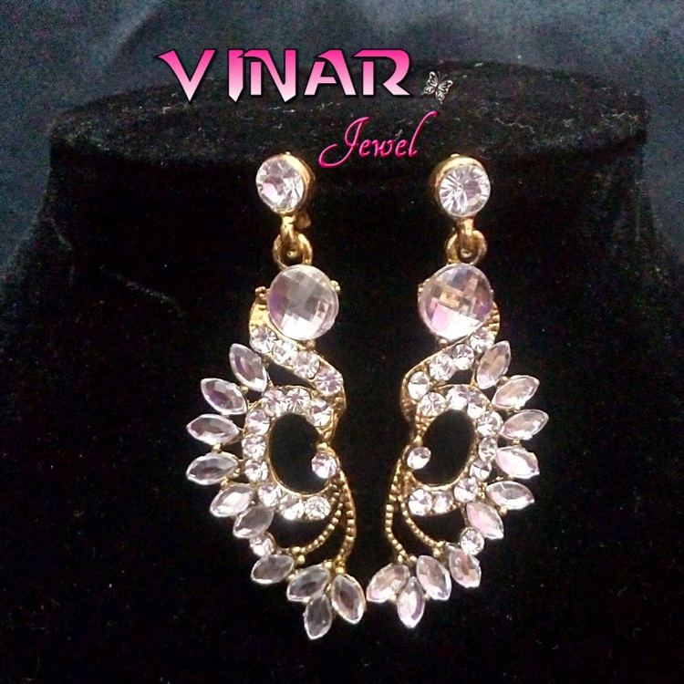Beautiful Peacock & White Stone Stud Dangler Earrings by Vinar Jewel
