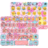 Pink Art Emoji keyboard Theme