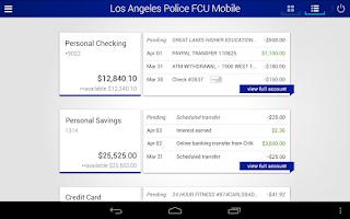 Screenshot of Los Angeles Police FCU Mobile