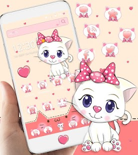 Pink Kitty Bow Cat Cartoon Theme - náhled