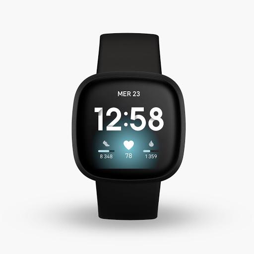 Fitbit Versa3 en noir et noir aluminium