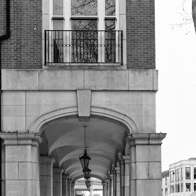 Underneath the arches by Carol Henson - Black & White Buildings & Architecture ( banbury, arch, black and white, arches, castle quay, monotone, mono, street photography )