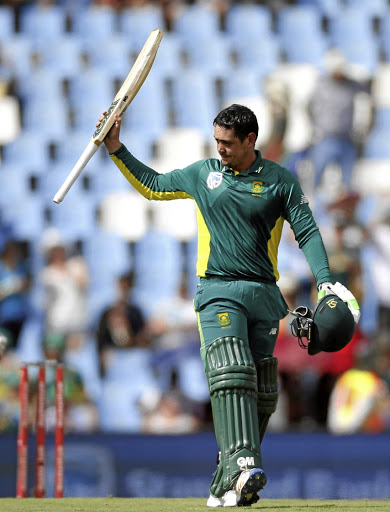 On a roll: Star batsman Quinton de Kock celebrates a century — one of his 12 tons in ODIs — against Sri Lanka in Centurion in February. Picture: REUTERS