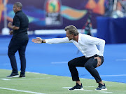 Morocco head coach Herve Renard shouts instructions to his team during an Africa Cup of Nations Group D opening match against Namibia at Cairo's Al-Salaam Stadium in Egypt on June 23 3019.