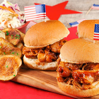 Pulled BBQ Chicken Sliders with salt and vinegar chips and cole slaw