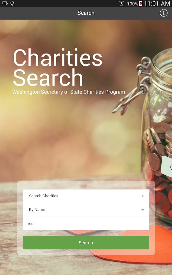 WA State Charities Search- screenshot