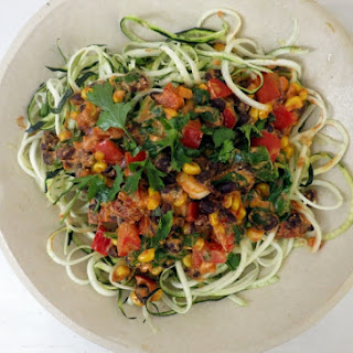 Courgette Pasta with a Mexican Bean Sauce.