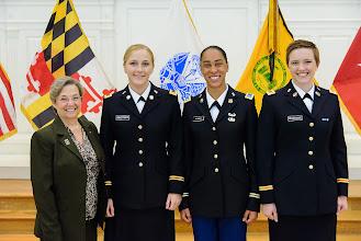 Photo: Brigadier General (Retired) Annette M. Deener '75, Katharine Armstrong, Jasmine McCormick, Olivia Brundage