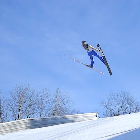 Flying Through the Air by Jason Asselin - Sports & Fitness Snow Sports ( flying, snow, sports, continental cup, ski jumping )
