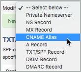 CNAME Alias is selected as the record type from the Modify list.