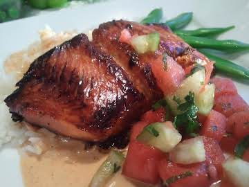 CARAMELIZED SALMON OVER SCENTED JASMINE RICE
