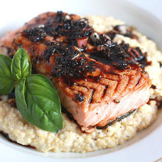 Pan Seared Salmon with Bacon-Molasses Vinaigrette