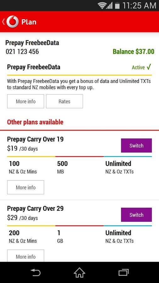 My Vodafone (NZ) - screenshot