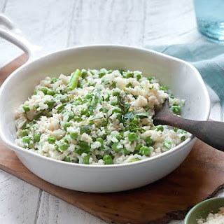 Cauliflower Rice Risotto with Peas and Asparagus.