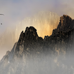 fly like a brave by Malinov Photography - Landscapes Mountains & Hills ( cliffs, fly, fog, rocks, paraplaner, mist )