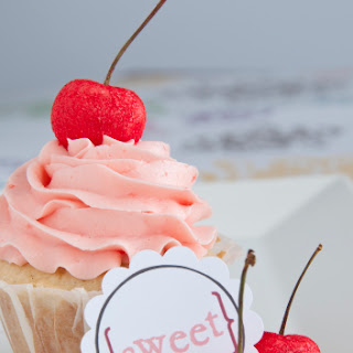 French Vanilla Cupcakes with Maraschino Swiss Meringue Buttercream